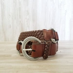 Brighton Braided Leather Belt Silver Metal Size 36